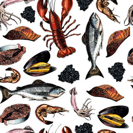 Vector seamless pattern of seafood.Lobster, squid, salmon, caviar, fillet,  shrimp and oyster. Hand drawn colored icons. Delicious food menu objects. Use for resaurant, promotion, market store banner