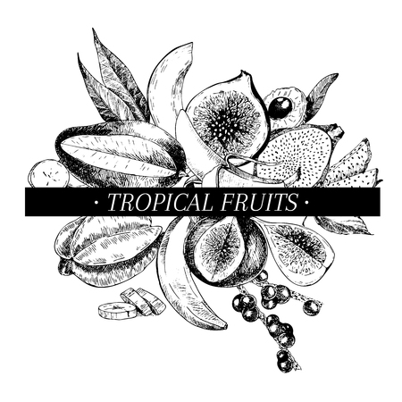 Vector hand drawn smoothie bowls poster. Exotic engraved fruits. Tropical sweet food. Banana, mango, fig, pitaya, acai, lychee, carambola, papaya Use for exotic restaurant food party