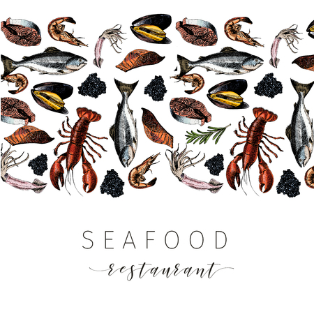 Vector Hand drawn seafood banner.colored Lobster, salmon, crab, shrimp, octopus, squid, clams.Engraved art in stripe border composition.Delicious menu objects. restaurant, promotion market store flyer