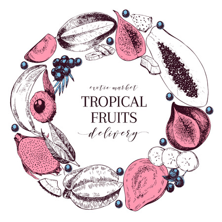 Vector Hand drawn smoothie bowls poster. Exotic engraved fruits. Round border composition. Banana, mango, papaya, pitaya, acai, lycgee, fig. Use for exotic restaurant food partty Illustration