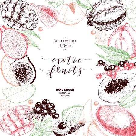 Vector hand drawn smoothie bowls poster. Exotic engraved fruits. Colored art. Frame border composition. Banana, mango, papaya, pitaya, acai, lychee, fig. for exotic restaurant market food delivery