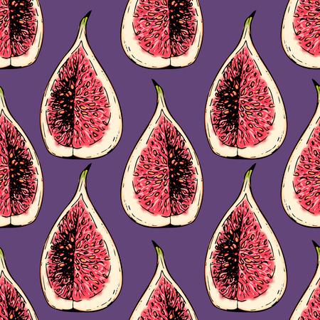 ベクトルは、隔離された図の描かれたシームレスなパターンを手します。刻まれた色の芸術。おいしい熱帯ベジタリアン果物。レストラン、食事、