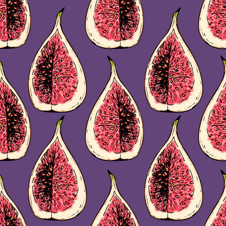 A Vector hand drawn seamless pattern of isolated fig. Engraved colored art. Delicious tropical vegetarian fruits. Use for restaurant, meal, market, store, menu, party decoration, smoothie bowls
