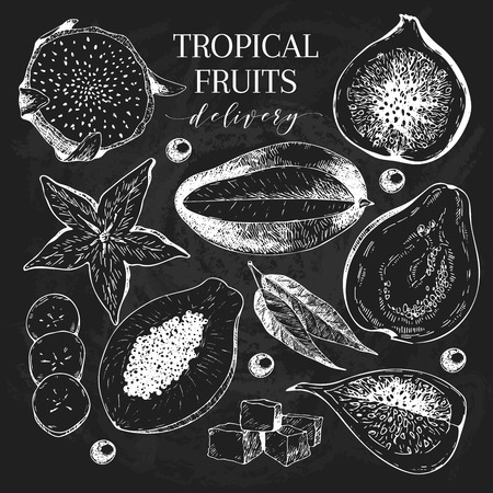 delievery: Vector Hand drawn exotic fruits. Chalkboard style engraved smoothie bowl ingredients. Tropical sweet food delivery. Pitaya, carambola, mango, papaya, fig, guava. Use for exotic restaurant food party Illustration