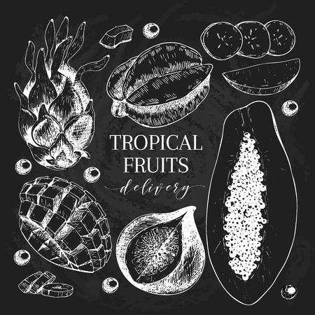 delievery: Vector hand drawn exotic fruits. Chalkboard style engraved smoothie bowl ingredients. Tropical sweet food delivery. Pitaya, carambola, banana, mango, papaya, fig. Use for exotic restaurant food party