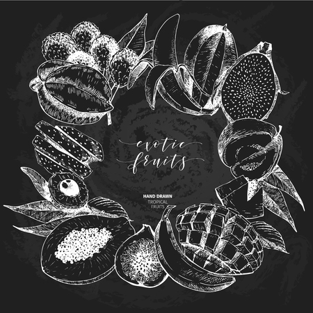 delievery: Vector hand drawn smoothie bowls poster. Exotic chalkboard style engraved fruits. Square border composition. Banana, mango, papaya, pitaya, acai, lychee, fig. exotic restaurant market food delivery