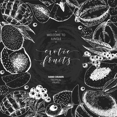 delievery: Vector hand drawn smoothie bowls poster. Exotic chalkboard style engraved fruits.Frame border composition. Banana, mango, papaya, pitaya, acai, lychee, fig. for exotic restaurant market food delivery Illustration