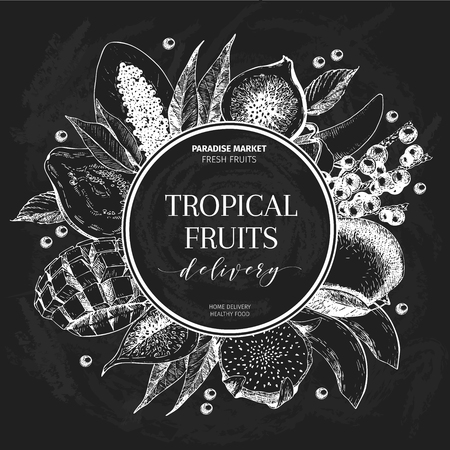 delievery: Vector hand drawn smoothie bowls poster. Exotic chalkboard style engraved fruits. Round border composition. Banana, mango, papaya, pitaya, acai, lychee, fig. for exotic restaurant market food delivery Illustration