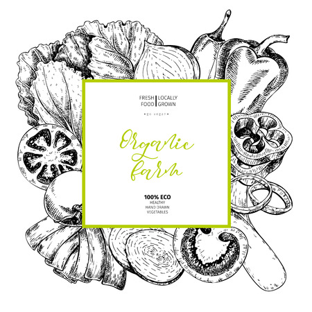 Vector hand drawn farm vegetables. Square border composition. Tomato, onion, cabbage, pepper, leek. Engraved art. Organic sketched vegetarian objects. restaurant, menu grocery market store party meal