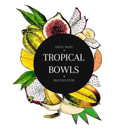 Vector hand drawn smoothie bowls poster. Exotic engraved fruits. Colored icons in round bodrer composition. Banana, mango, papaya, pitaya, fig, carambola, pitahaya. for exotic restaurant food party Illustration