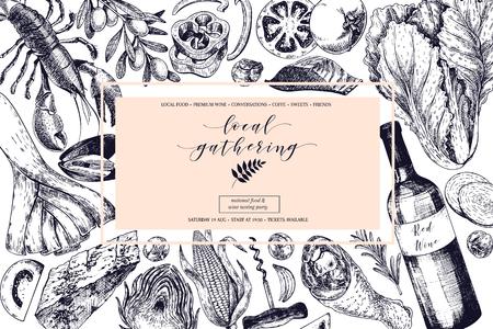 ロゴベクトルの手には、バナーの地元の集まりが描画されます。フレーム構成。ワイン、魚介類、チーズ、鶏ミート、野菜のキャベツ、トマト、オ