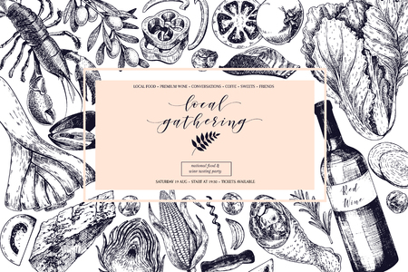 Vector hand drawn banner local gatherings. Frame composition. Wine, seafood, cheese, chicken meet, vegetables cabbage, tomato, olive, corn. Engraved art Sketched food objects restaurant menu party