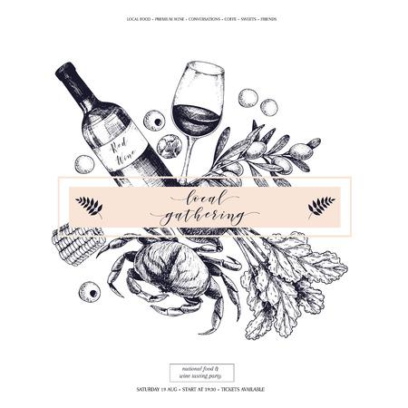 ロゴベクトルの手には、バナーの地元の集まりが描画されます。フレーム構成。ワイン、魚介類、チーズ、鶏を満たす、ファーム野菜オリーブ、ビ