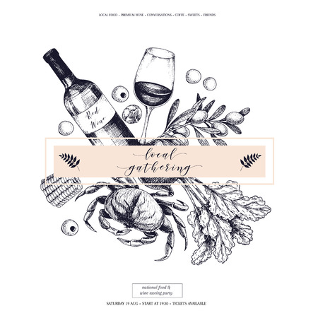 Vector hand drawn banner local gatherings. Frame composition. Wine, seafood, cheese, chicken meet, farm vegetables olive, beetroot, corn. Engraved art. Sketched objects restaurant menu party