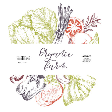 Vector hand drawn farm vegetables. Tomato, onion, cabbage, pepper, leek. Engraved art. Organic sketched vegetarian objects. restaurant, menu grocery market store party meal.