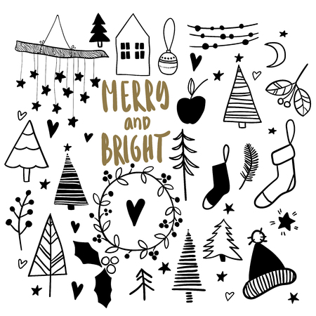 Christmas Doodles Hand Drawn Vector Icons Xmas And New Year