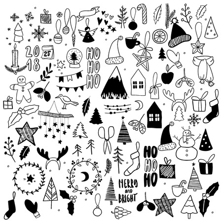 Big set of Christmas doodles. Hand drawn vector icons. Xmas and New Year scrapbooking stickers. Candle, garland, cookies, house, tree, socks, mitens, candy, present Simple scandinavian hygge style