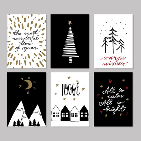 Set of doodle christmas greeting cards vector hand drawn cute set of doodle christmas greeting cards vector hand drawn cute icons scandinavian style m4hsunfo