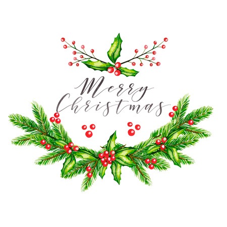 guelder rose: Watercolor vector illustration. Christmas garland with fir branches, holly jolly and guelder rose berries. Greeting card. Hand drawn. Christmas, Xmas, New year. Party decoration, greeting card Illustration