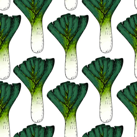 Hand drawn seamless pattern of leeks onion vegetables engraved colored art organic sketched objects use for restaurant, menu, grocery, market store, and party meal