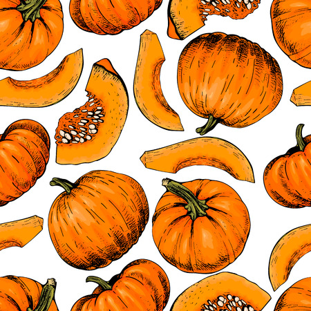 Vector hand drawn seamless pattern of pumpkins. Çizim