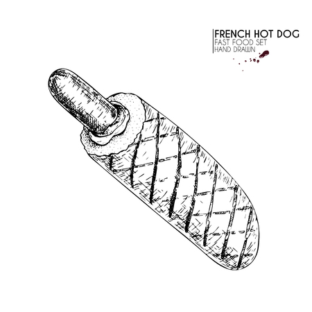 Hand drawn set of fast food. French grilled hot dog with frankfurter, sauces. engraved vector illustration. Isolated on white. For restaurant, menu, street food, bakery, cafe, logo, flyer banner. Vettoriali