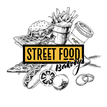 Hand drawn fast food banner. Street food bakery. Burger, hot dog, french fries, pizza, coffee and waffels. engraved vector illustration. For restaurant, menu, street food, bakery, cafe logo flyer