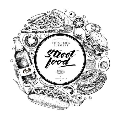 Hand drawn street food banner. Engraved vector  restaurant menu flyer vector design illustration