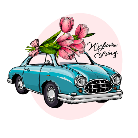 Easter car. Retro automobile driving a bouquet of tulips. Hand drawn vector illustration. Engraved colored art. Welcome spring. Good for greeting cards, flyer, poster, banner.
