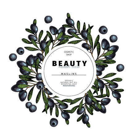Cosmetic packaging template. Black olive, maslins oil beauty product. Vector hand drawn illustration. Organic vegetarian food ingredient. Good for label, beauty shop, spa, welness, restarurant, menu