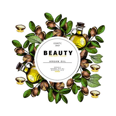 Cosmetic packaging template. Argan nut oil beauty product. Vector hand drawn illustration. Organic vegetarian food ingredient. Good for label, beauty shop, spa, welness, restarurant, menu.