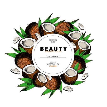 Cosmetic packaging template. Coconut nut oil beauty product. Vector hand drawn illustration. Organic vegetarian food ingredient. Good for label, beauty shop, spa, welness, restarurant, menu. Stock Illustratie