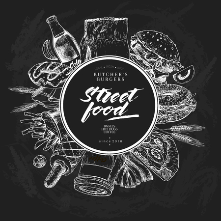 Hand drawn fast food banner. Street food. Burger, hot dog, soda, french fries, pizza, coffee, bagels. Chalkboard vector illustration. For restaurant, menu street food bakery cafe flyer