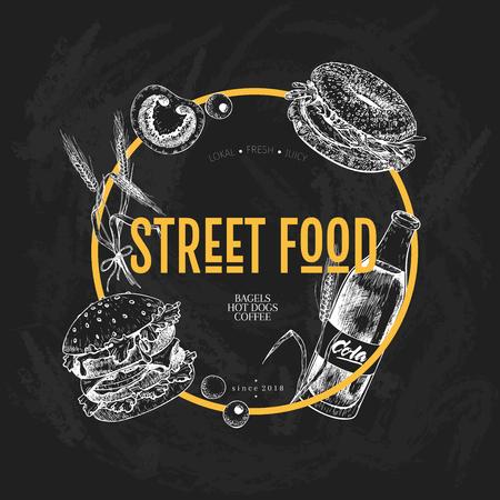 Hand drawn fast food banner. Street food creative flyer.Burger, soda, tomato, bagel, wheat barrels and olives. Chalkboard vector illustration. For restaurant, menu, street food, flyer poster