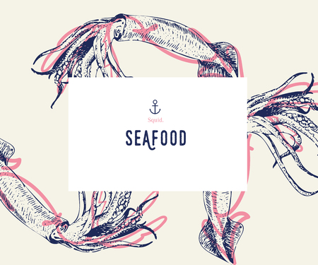 Seafood banner set. Hand drawn squid. Vector restaurant menu. Marine food banner, flyer design. Engraved isolated art. Delicious cuisine objects. Use for promotion, market, store banner