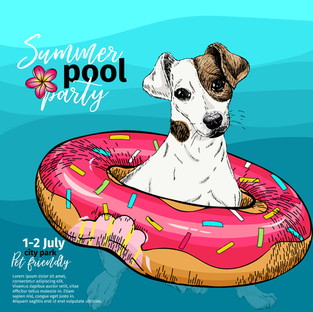 Vector portrait of Jack Russel terrier dog swimming in water. Donut float. Summer pool paty illustration. Sea, ocean, beach. Hand drawn portait. Poster, t-shirt print, holiday, postcard, summertime
