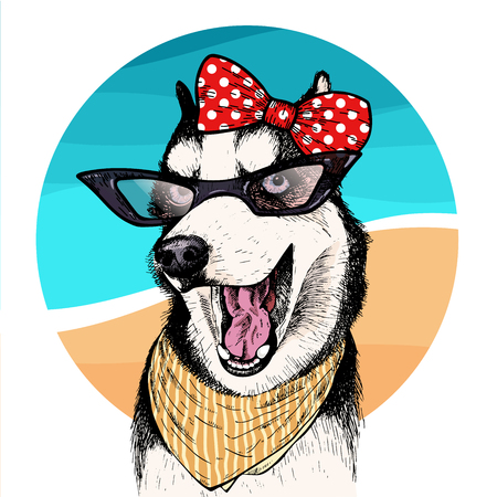 Vector portrait of Siberian husky dog wearing sunglasses and retro bow. Summer fashion illustration. Vacation, sea, beach, ocean. Hand drawn pet portait. Poster, t-shirt print, holiday, summertime.