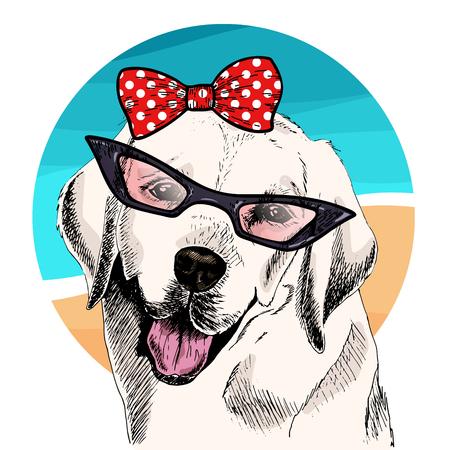 Retrato de vector de perro labrador retriever con gafas de sol, arco retro. Ilustración de moda de verano. Vacaciones, mar, playa, océano. Retrato de mascota dibujado a mano. Póster, estampado de camiseta, vacaciones, verano