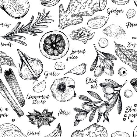 Dibujado a mano de patrones sin fisuras de especias, hierbas y condimentos. Vector grabado. Cebolla, laurel, aceite de oliva, jengibre, ajo, canela, anís, jugo de limón, pimienta negra Diseño de menú de restaurante.