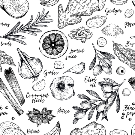 Hand drawn seamless pattern of spices, herbs and condiments. Engraved vector. Onion, bay leaf, olive oil, ginger, garlic, cinnamon, anise, lemon juice, black pepper Restaurant menu design packaging