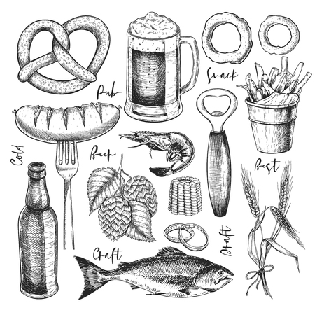 Hand drawn Oktoberfest pub poster. Beer and snacks. Vector glass, bottle, opener, fish, pretzel, barley, hop, food. Bar alcohol beverages. Craft brewery Discount banner festival menu flyer poster