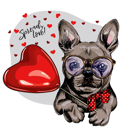 Hand drawn french bulldog with heart shape baloon. Vector Valentine day greeting card. Cute colorful dog wears glasses and bandana. Romantic design. Love pet portrait. Poster, banner. Spread love
