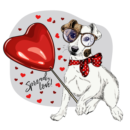 Hand drawn Jack Russel terrier with heart shape baloon. Vector Valentine day greeting card. Cute colorful dog wears glasses and bandana. Romantic design. Love pet portrait. Poster, banner. Spread love Illustration