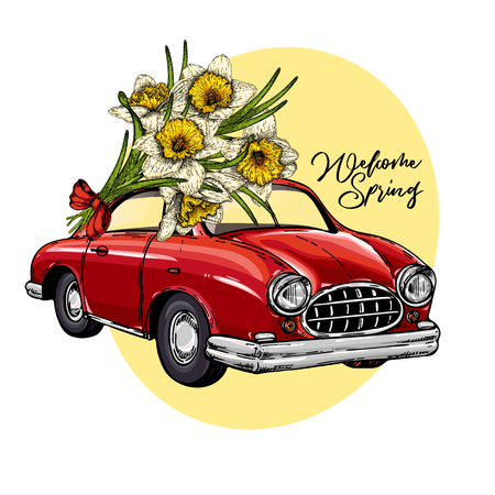 Vector Easter car. Retro automobile driving a bouquet of daffodils. Hand drawn vector illustration. Engraved colored art. Welcome spring. Good for greeting cards, flyer, poster, banner.