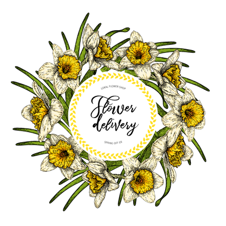 Hand drawn spring floral banner. Colored daffodils. Flower delivery. Hand drawn detailed engraved illustration. Good for Easter, Woman day, Valentine greeting cards, sale flyer, wedding invitation Vettoriali
