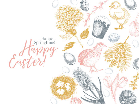 Easter greeting card. Hand drawn vector banner. Eggs, nest, cake, willow branch, quail, hydrangea, tulip, mimosa, hyacynth Vintage engraved spring holiday decoration Traditional retro icon set Imagens - 125299901