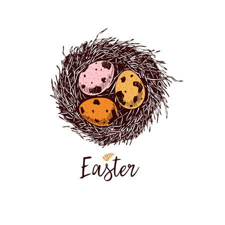 Easter greeting card. Hand drawn vector banner. Sketched nest with three quail or chicken eggs. Colored in pink, orange, yellow. Vintage engraved spring holiday decoration. Traditional retro icon set Vecteurs