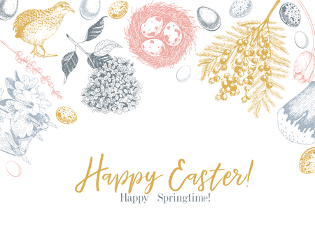 Easter greeting card. Hand drawn vector banner. Eggs, nest, cake, willow branch, quail, hydrangea, tulip, mimosa, hyacynth Vintage engraved spring holiday decoration Traditional retro icon set Imagens - 125278976