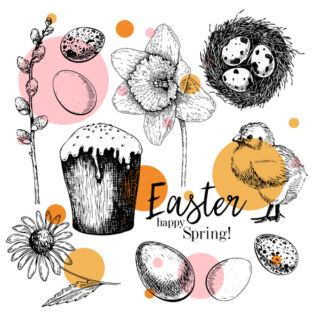 Easter greeting card. Hand drawn vector banner. Eggs, nest, Easter cake, willow branch, chick, echiancea flower, daffodil. Vintage engraved spring holiday decoration. Traditional retro icon set Imagens - 125178921