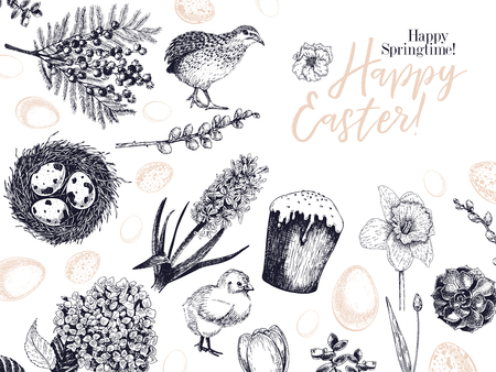 Easter greeting card. Hand drawn vector banner. Eggs, nest, cake, willow branch, quail, hydrangea, tulip, mimosa, hyacynth Vintage engraved spring holiday decoration Traditional retro icon set Ilustração